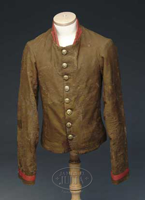 RARE AND IMPORTANT CONFEDERATE ARTILLERY OFFICER'S SHELL JACKET