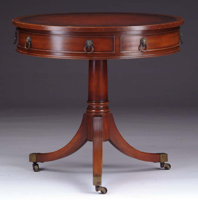 Duncan Phyfe Round Table With Drawer.Mahogany One Drawer Duncan Phyfe Style Drum Table