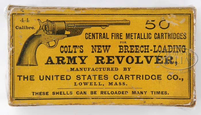 EXTREMELY RARE BOX FOR 44 CALIBER CARTRIDGES FOR COLT'S 1860