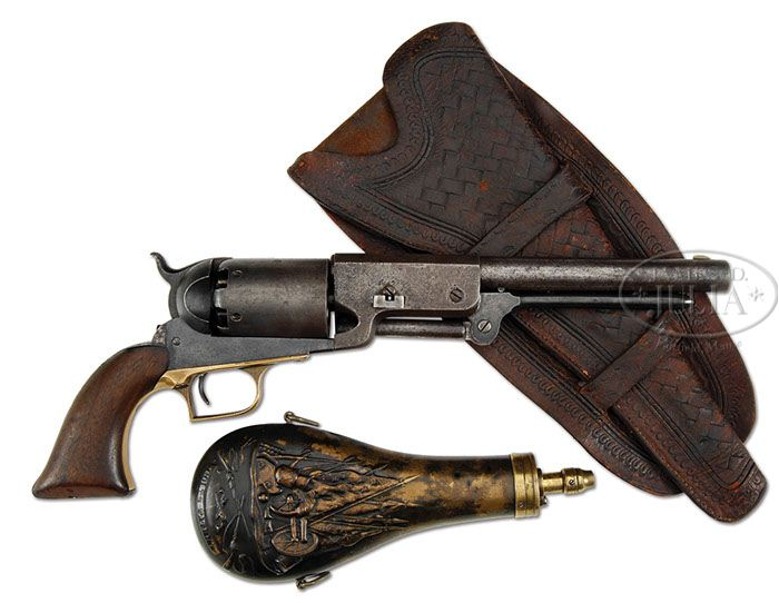 VERY RARE COLT WALKER PERCUSSION REVOLVER, FLASK AND HOLSTER