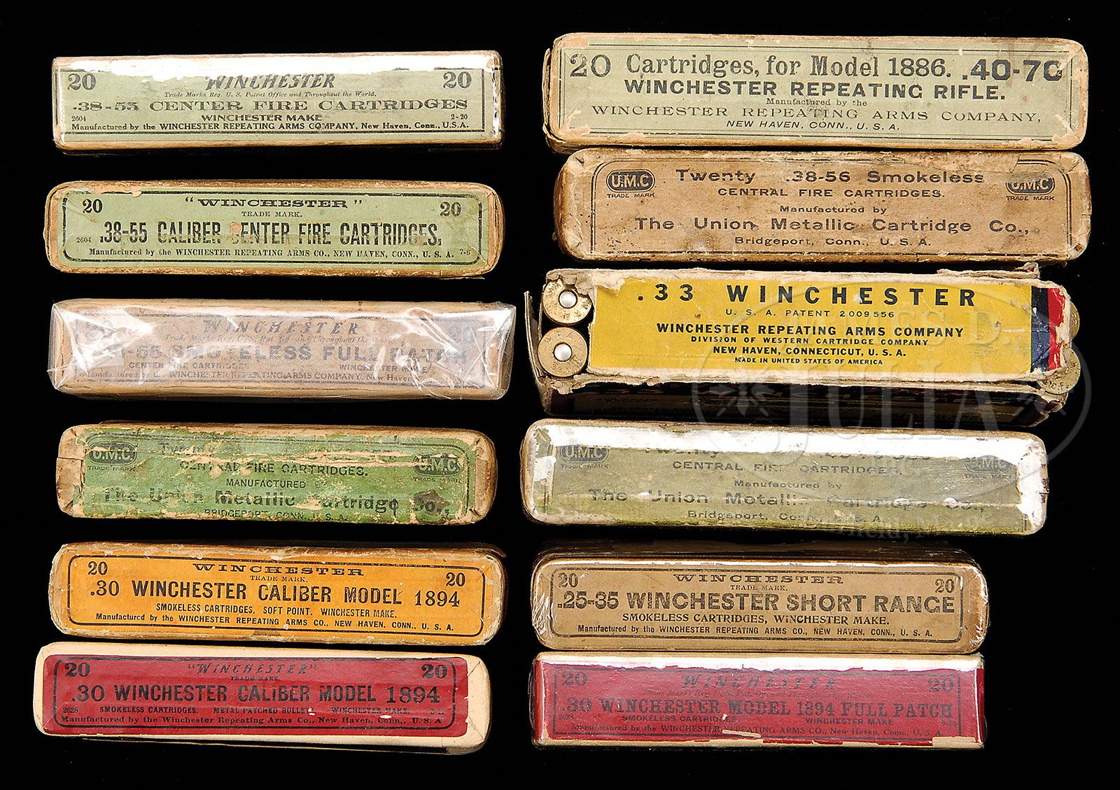 LOT OF 40 BOXES OF AMMUNITION FOR THE MODEL 1886 WINCHESTER