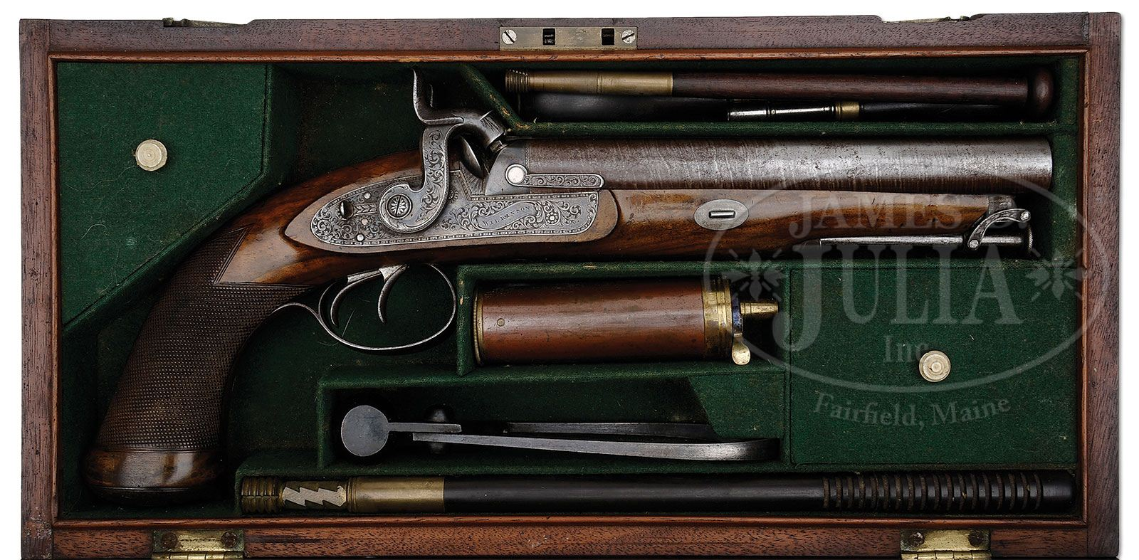 WILKINSON DOUBLE BARREL PERCUSSION HOWDAH PISTOL IN CASE
