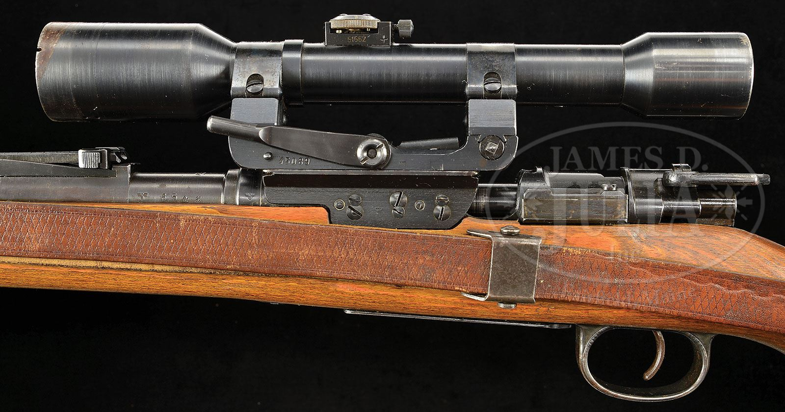 MAUSER K98 BCD 4 SNIPER RIFLE 8MM WITH LONG RAIL SCOPE & CAN