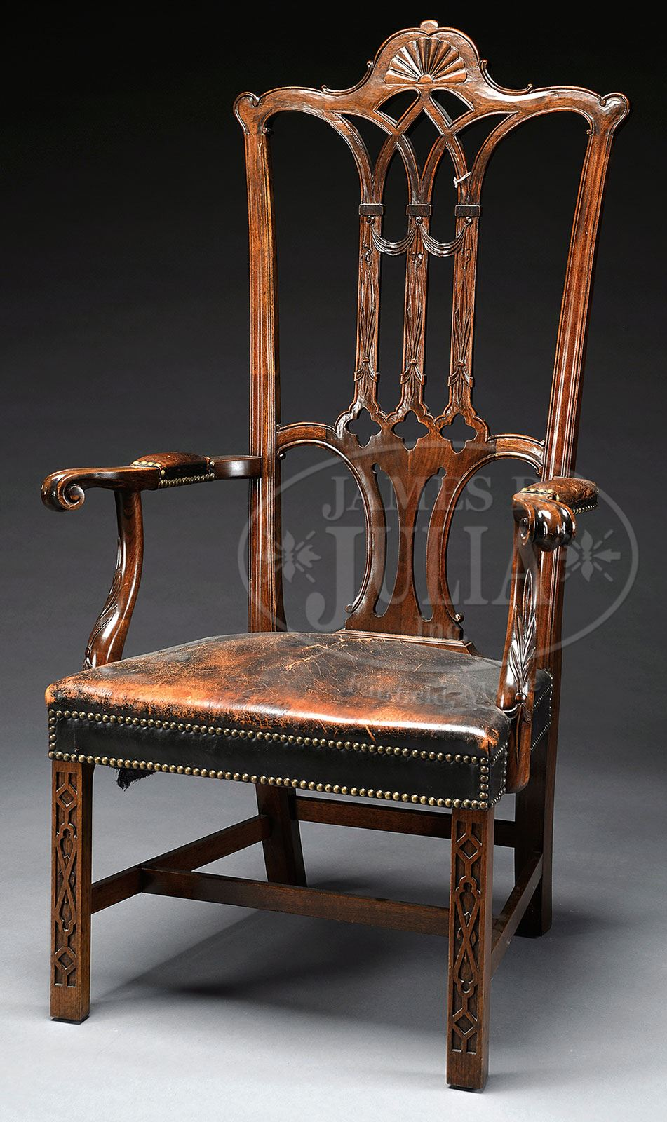 MAHOGANY REPLICA OF GEORGE WASHINGTONu0027S CHAIR IN INDEPENDENCE HALL IN  PHILADELPHIA, PA IN THE CHIPPENDALE STYLE HALL CHAIR.