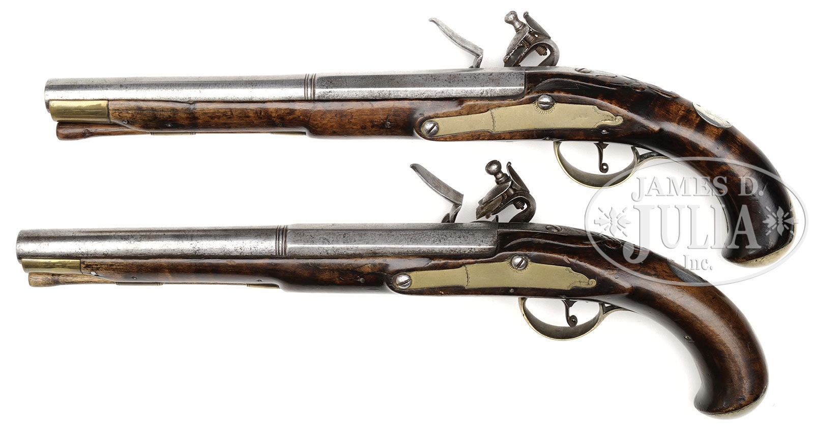 PAIR OF REVOLUTIONARY WAR PERIOD RELIEF CARVED FLINTLOCK