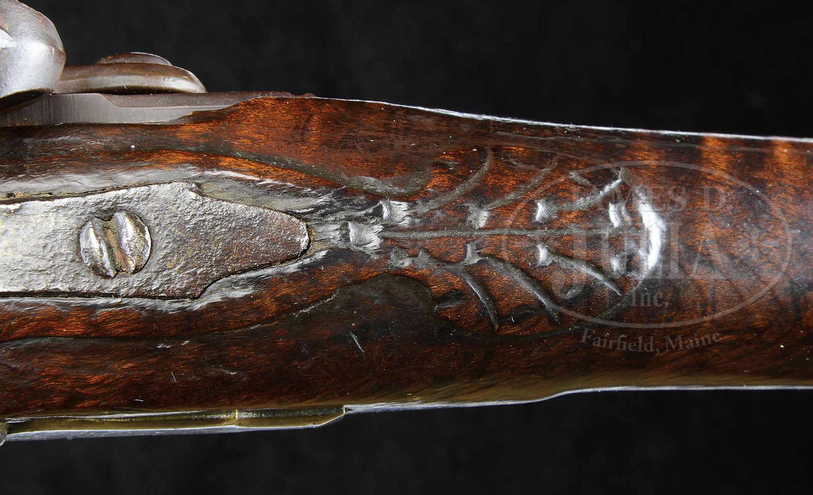 Relief carved flintlock kentucky smooth rifle attributed