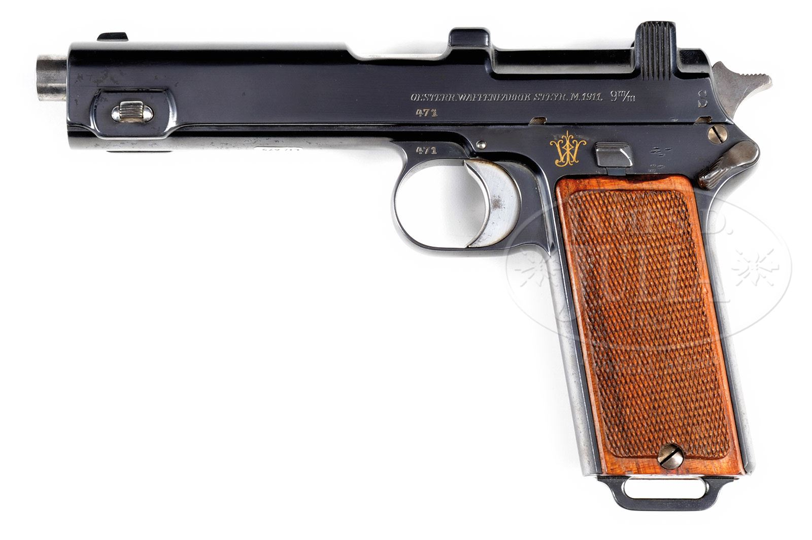 EARLY STEYR M1911, GOLD INITIALS, IN MARKED PRESENTATION CASE WITH