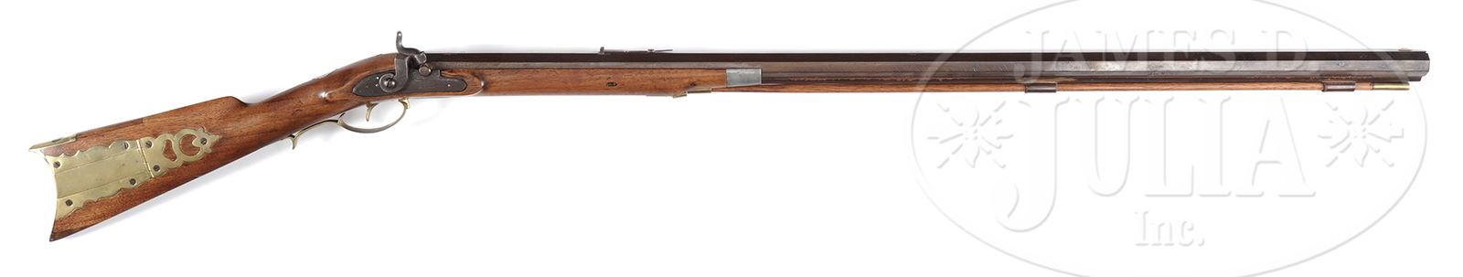UNMARKED HALF STOCK PERCUSSION PLAINS RIFLE