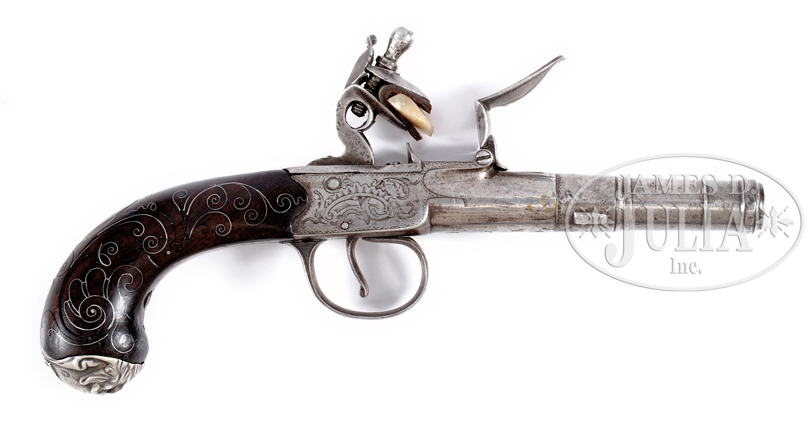 SILVER MOUNTED ENGLISH FLINTLOCK PISTOL BY THOMAS ARCHER