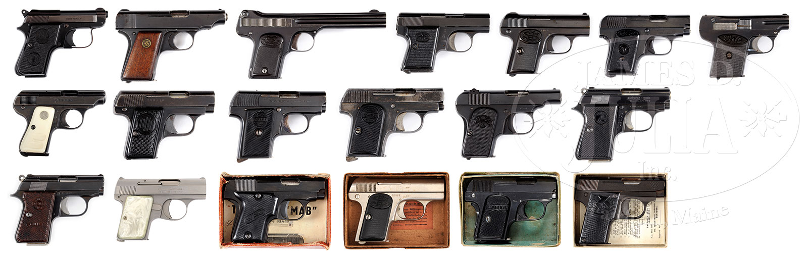 OUTSTANDING LOT OF 19 POCKET PISTOLS FROM  22 TO 25 ACP