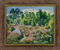 And Trees Great Frame Perfect In Workmanship Strong-Willed Large Old Oil Painting Wagon Landscape With A Man