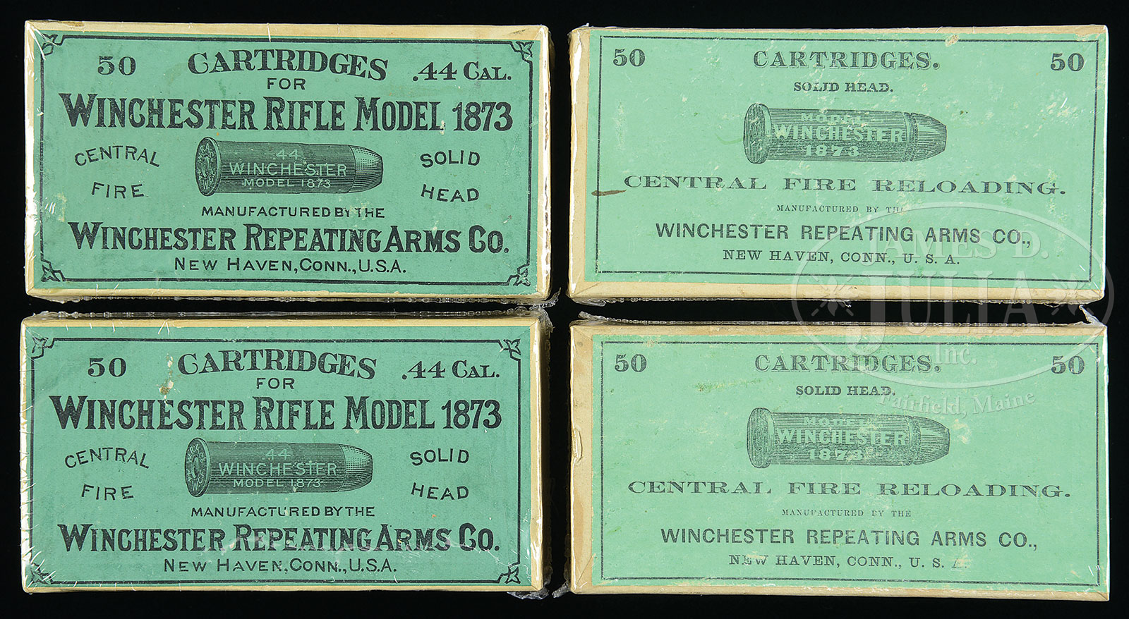 OUTSTANDING LOT OF 4 EARLY 44WCF CALIBER GREEN LABEL BOXES